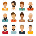 Circle of flat icons on white background man vector illustration web userpic Royalty Free Stock Images