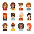 Circle of flat icons on white background woman character illustration vector illustration web userpic people avatars Stock Image