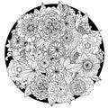 Circle floral ornament. Hand drawn art mandala