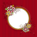 Circle  frame with flowers on red background Royalty Free Stock Photography