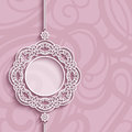 Circle frame, lace pendant on pink background Royalty Free Stock Photo