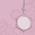 Circle frame, lace pendant on pink background