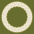 Circle frame of lace round with floral ornament in the style embroidery Royalty Free Stock Photo