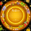 Circle frame on orange christmas tunnel background with golden stars and present boxes Royalty Free Stock Photo