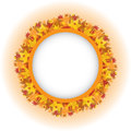 Circle frame over wreath colorful autumn leaves Royalty Free Stock Images