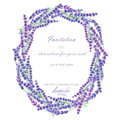 A circle frame, wreath, frame border with the watercolor lavender flowers, wedding invitation