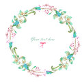 Circle frame, wreath of watercolor floral elements Royalty Free Stock Photo