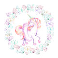 Circle frame, wreath with watercolor tender butterflies and pink unicorn