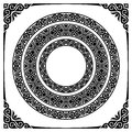 Circle frames set of three ornamental and corners Royalty Free Stock Image