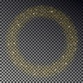 Circle of gold glitter sparkle vector. Star dust round, light effect. Bokeh background. Xmas stars w