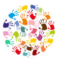 Circle with hand prints colorful Stock Photos