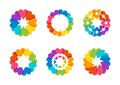 Circle hearts logo, arround rainbow healthy love, global floral hearts symbol icon vector design