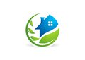 Circle home plant logo house building architecture real estate nature symbol icon design vector logotype Royalty Free Stock Images