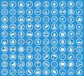 Circle icon set, blue Royalty Free Stock Photo