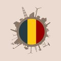 Circle with industry relative silhouettes. Belgium flag