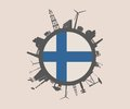 Circle with industry relative silhouettes. Finland flag