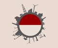 Circle with industry relative silhouettes. Indonesia flag