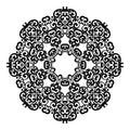 Circle lace ornament, round ornamental geometric doily pattern, black and white isolated mandala