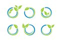 circle leaves ecology logo, plant water sphere Set of round icon symbol vector design