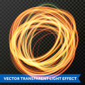 Circle light line gold swirl effect. Vector glitter light fire flare trace. Royalty Free Stock Photo