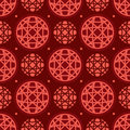 Circle line red symmetry seamless pattern Royalty Free Stock Photo