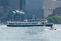 Circle line sightseeing cruise may jersey city nj the queens of the boats navigates the hudson in front of the world trade center Royalty Free Stock Photography