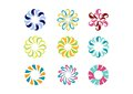 Circle logo, floral template,Set of round abstract infinity flower pattern vector design Royalty Free Stock Photo