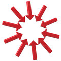 Circle made of red arrows 3d Royalty Free Stock Photo