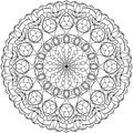 Circle mandala adult coloring page, with tulips motifs.