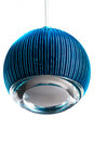 Circle metal blue hanging lamp isolated on white. Modern designer lamp for interiors.