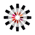 Circle of open tube of lipstick lipstick of different colors laid out in a circle isolated on white vector illustration Royalty Free Stock Photo