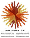 Circle of overlapping hands design. Royalty Free Stock Photography