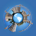 Circle panorama of building on globe Royalty Free Stock Photography