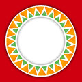 Circle paper sticker with watercolor round  pattern of triangle on red background . Royalty Free Stock Photo