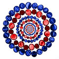 Circle pattern of red and blue transparent glass marbles isolate Royalty Free Stock Photo