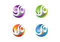 Circle,people,water,wind,flame,leaf,logo, Set of four nature element icon symbol vector design Royalty Free Stock Photo
