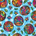 Circle petal flower seamless pattern