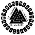 A circle of planks to put on them in the Scandinavian runes, futhark end sign of Odin - Walknut