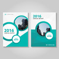 Circle polygon green blue annual report Leaflet Brochure Flyer template design, book cover layout design