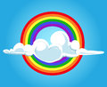 Circle rainbow and clouds blue sky