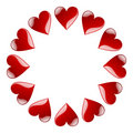 Circle of red aqua hearts Royalty Free Stock Photo