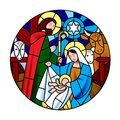 Circle shape with the birth of Jesus Christ scene in stained glass style