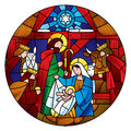 Circle shape with the Christmas and Adoration of the Magi scene Royalty Free Stock Photo