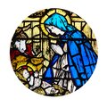 Circle shape with the Christmas and Adoration of the Manger scene in stained glass style. Royalty Free Stock Photo