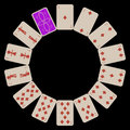 Circle shape diams playing cards isolated on black Stock Photo