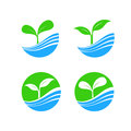 Circle shape logo element with nature plant and water concept, h