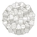 Circle shape pattern with cute ice creams for coloring book Royalty Free Stock Photo