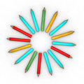 Circle shape pencils shaped on white background Royalty Free Stock Photography