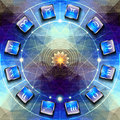 Circle with signs of zodiac on icons Royalty Free Stock Photo
