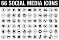 66 circle Social Media Icons black Royalty Free Stock Photo